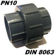 PVC-U Fitting Adapter Verschraubung Durchmesser 50mm mit 2 X Klebemuffe ideal für Rohrleitungsbau am Koiteich