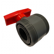 PVC-U Kugelhahn 50mm Budget Serie zum kleben mit 2 Überwurfmuttern & 2 Klebemuffen in DN50