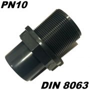 PVC-U Tankdurchführung DN40 Tankverschraubung Klemmverschraubung 40mm mit 2 X Klebemuffen inkl. 2 X Dichtung & Kontermutter