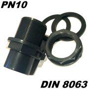 PVC-U Tankdurchführung DN50 Tankverschraubung Klemmverschraubung 50mm mit 2 X Klebemuffen inkl. 2 X Dichtung & Kontermutter