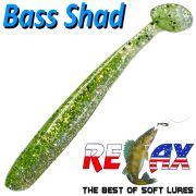 Relax Bass Shad Gummifisch 90mm in Farbe Chartreuse Kristall Glitter 5 Stück im Set Barsch & Zanderköder