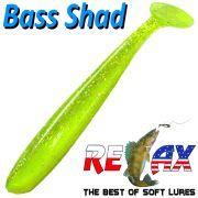 Relax Bass Shad Gummifisch 90mm in Farbe Fluogelb Chartreuse Glitter 5 Stück im Set Barsch & Zanderköder