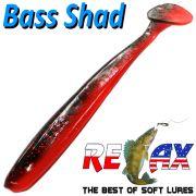 Relax Bass Shad Gummifisch 90mm in Farbe Japanrot Schwarz 5 Stück im Set Barsch & Zanderköder