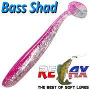 Relax Bass Shad Gummifisch 90mm in Farbe Kristall Glitter Heavy Pink 5 Stück im Set Barsch & Zanderköder