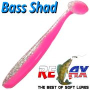 Relax Bass Shad Gummifisch 90mm in Farbe Pink Bubblegum Kristall Glitter 5 Stück im Set Barsch & Zanderköder