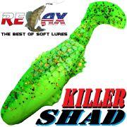 Relax Killer Shad Gummifisch 5,0 cm Fluogelb Grün Glitter Softbait Angelköder für Forelle & Barsch