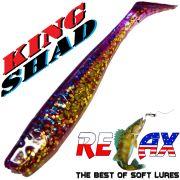 Relax King Shad 3 Gummifisch 8cm Electric Glitter Gold Glitter 5 Stück im Set Zanderköder