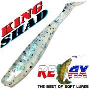 Relax King Shad 3 Gummifisch 8cm Pearl White Blue Glitter 5 Stück im Set Zanderköder