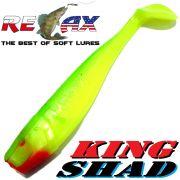 Relax King Shad 4 Gummifisch 11cm Fluogelb Fluogrün 5 Stück im Set Zanderköder