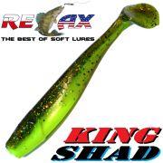 Relax King Shad 4 Gummifisch 11cm Fluogelb Glitter Olive 5 Stück im Set Zanderköder