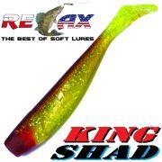 Relax King Shad 4 Gummifisch 11cm Grün Glitter Braun 5 Stück im Set Zanderköder