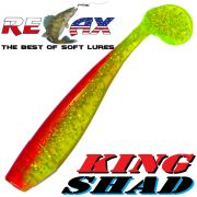 Relax King Shad 4 Gummifisch 11cm Grün Glitter Rot 5 Stück im Set Zanderköder