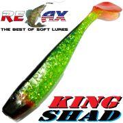 Relax King Shad 4 Gummifisch ca. 11cm Farbe Grün Glitter Schwarz RT Zanderköder