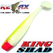 Relax King Shad 4 Gummifisch ca. 11cm Farbe Reinweiss Fluogelb 5 Stück Zanderköder im Set