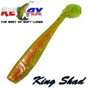 Relax King Shad Gummifisch ca. 11cm 4 Farbe Chartreuse Glitter Inside Orange 5 Stück im Set