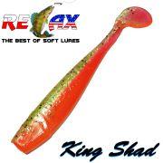 Relax King Shad Gummifisch ca. 11cm 4 Farbe Clear Orange Gold Glitter 5 Stück im Set