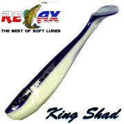 Relax King Shad Gummifisch ca. 11cm 4 Farbe Reinweiss Violett 5 Stück im Set