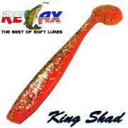 Relax King Shad Gummifisch ca. 11cm 4 Farbe Orange Kristall Glitter 5 Stück im Set