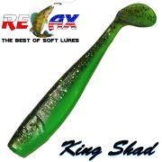 Relax King Shad Gummifisch ca. 11cm 4 Farbe Poison Green Olive Glitter 5 Stück im Set