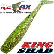 Relax King Shad Gummifisch ca. 11cm 4 Farbe Chartreuse Kristall Glitter Zanderköder