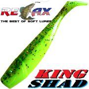 Relax King Shad Gummifisch ca. 11cm 4 Farbe Clear Chartreuse Glitter 5 Stück im Set Zanderköder