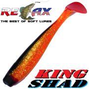 Relax King Shad Gummifisch ca. 11cm 4 Farbe Clear Orange Glitter Schwarz RT 5 Stück im Set Zanderköder