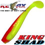 Relax King Shad Gummifisch ca. 11cm 4 Farbe Fluogelb Rot Zanderköder