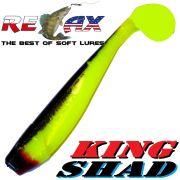 Relax King Shad Gummifisch ca. 11cm 4 Farbe Fluogelb Schwarz 5 Stück im Set Zanderköder