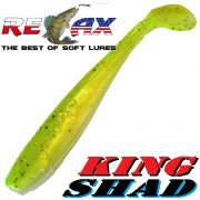 Relax King Shad Gummifisch ca. 11cm 4 Farbe Goldperl Chartreuse Pepper Zanderköder