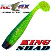 Relax King Shad Gummifisch ca. 11cm 4 Farbe Grün Glitter Blau 5 Stück im Set Zanderköder