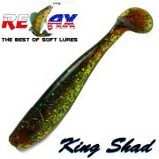 Relax King Shad Gummifisch ca. 11cm 4 Farbe Grün Glitter Motoroil 5 Stück im Set Zanderköder