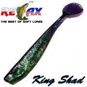 Relax King Shad Gummifisch ca. 11cm 4 Farbe Grün Glitter Violett 5 Stück im Set