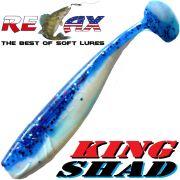 Relax King Shad Gummifisch ca. 11cm 4 Farbe Reinweiss Blau Glitter 5 Stück im Set Zanderköder