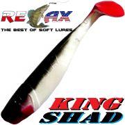 Relax King Shad Gummifisch ca. 11cm 4 Farbe Reinweiss Schwarz RT 5 Stück im Set Zanderköder