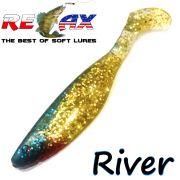 Relax Kopyto River 4 Gummifisch Länge 4 - ca. 10cm Farbe Gold Glitter Blau 5 Stück im Set!