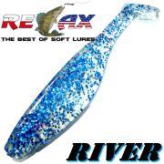 Relax Kopyto River 5 Gummifisch 12,5cm Clear Blue Glitter 3 Stück im Set idealer Wels & Hechtköder