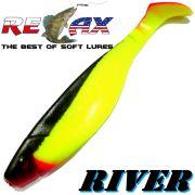Relax Kopyto River 5 Gummifisch 12,5 cm Fluogelb Schwarz RT 1 Stück idealer Wels & Hechtköder