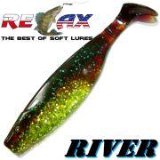 Relax Kopyto River 5 Gummifisch 12,5cm Grün Glitter Motoroil 3 Stück im Set idealer Wels & Hechtköder