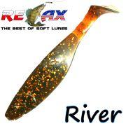 Relax Kopyto River 5 Gummifisch 12,5 cm Motoroil Glitter 1 Stück idealer Wels & Hechtköder