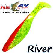 Relax Kopyto River 5 Gummifisch 12,5 cm Grün Glitter Rot 1 Stück idealer Wels & Hechtköder