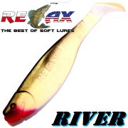 Relax Kopyto River 5 Gummifisch 12,5 cm Reinweiss Schwarz 1 Stück idealer Wels & Hechtköder