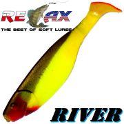 Relax Kopyto River Gummifisch 10cm Fluogelb Schwarz RT 5 Stück im Set