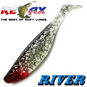 Relax Kopyto River 4 Gummifisch Länge 4 - 10cm Farbe Kristall Glitter Schwarz 5 Stück im Set!