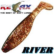 Relax Kopyto 4 River Gummifisch ca. 10cm Farbe Kupfer Glitter Schwarz 5 Stück im Set
