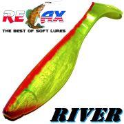 Relax Kopyto River Gummifisch 10cm Perl Fluogelb Rot 5 Stück im Set