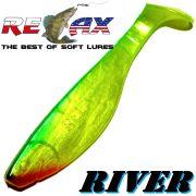 Relax Kopyto River Gummifisch 10cm Perlfluogelb Dunkelgrün