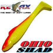 Relax Ohio Shad 2,5 Gummifisch ca. 7cm Farbe Fluogelb Rot 5 Stück Barsch&Zanderköder