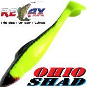 Relax Ohio Shad 2,5 Gummifisch ca. 7cm Farbe Fluogelb Schwarz 1 Stück Barsch&Zanderköder