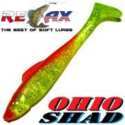 Relax Ohio Shad 2,5 Gummifisch ca. 7cm Farbe Grün Glitter Rot 1 Stück Barsch&Zanderköder