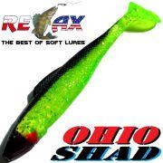 Relax Ohio Shad 2,5 Gummifisch ca. 7cm Farbe Grün Glitter Schwarz 5 Stück im Set Barsch&Zanderköder